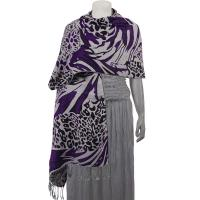 Pashmina Style Shawls - Woven Prints - Abstract Animal - Grey/Black/Purple