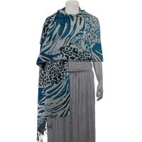 Pashmina Style Shawls - Woven Prints - Abstract Animal - Grey/Black/Teal Blue