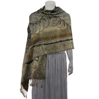 Pashmina Style Shawls - Woven Prints - Metallic Accent - Bordered Persian - Taupe/Silver