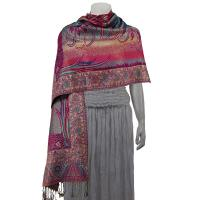 Pashmina Style Shawls - Woven Prints - Metallic Accent - Bordered Persian - Teal/Magenta