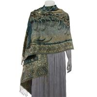 Pashmina Style Shawls - Woven Prints - Metallic Accent - Bordered Persian - Teal/Champagne