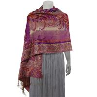 Pashmina Style Shawls - Woven Prints - Metallic Accent - Bordered Persian - Purple/Paprika