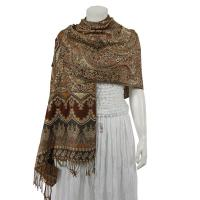 Pashmina Style Shawls - Woven Prints - Metallic Accent - Persian Paisley - Brown/Slate