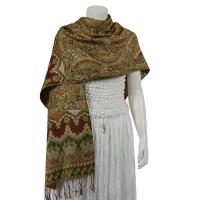 Pashmina Style Shawls - Woven Prints - Metallic Accent - Persian Paisley - Brown/Olive
