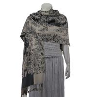 Pashmina Style Shawls - Woven Prints - Flowers and Grapes - Pewter