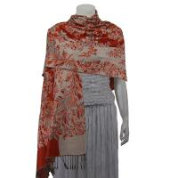 Pashmina Style Shawls - Woven Prints - Flowers and Grapes - Paprika