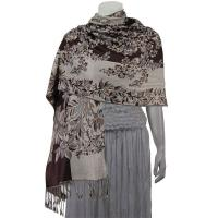 Pashmina Style Shawls - Woven Prints - Flowers and Grapes - Brown