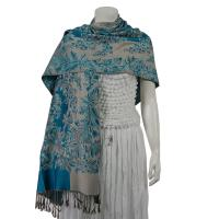Pashmina Style Shawls - Woven Prints - Flowers and Grapes - Turquoise