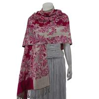 Pashmina Style Shawls - Woven Prints - Flowers and Grapes - Magenta