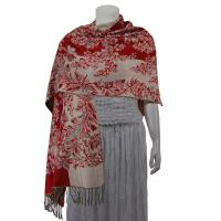 Pashmina Style Shawls - Woven Prints - Flowers and Grapes - Red