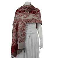 Pashmina Style Shawls - Woven Prints - Flowers and Grapes - Wine