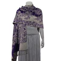 Pashmina Style Shawls - Woven Prints - Flowers and Grapes - Purple