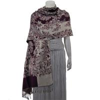 Pashmina Style Shawls - Woven Prints - Flowers and Grapes - Eggplant