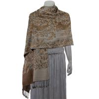 Pashmina Style Shawls - Woven Prints - Flowers and Grapes - Champagne