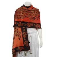 Pashmina Style Shawls - Woven Prints - Metallic Accent - Peacock - Orange/Black