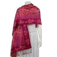 Pashmina Style Shawls - Woven Prints - Metallic Accent - Peacock - Raspberry Two-Tone