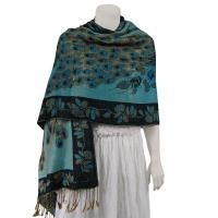 Pashmina Style Shawls - Woven Prints - Metallic Accent - Peacock - Teal/Black