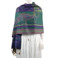 Pashmina Style Shawls - Woven Prints - Medley Print - Hunter Green-Purple