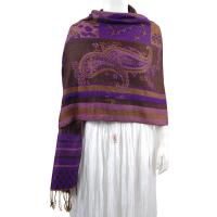 Pashmina Style Shawls - Woven Prints - Medley Print - Brown-Purple
