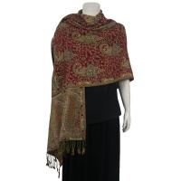 Pashmina Style Shawls - Woven Prints - Floral with Paisley Border - Wine