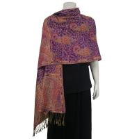 Pashmina Style Shawls - Woven Prints - Floral with Paisley Border - Purple