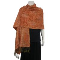 Pashmina Style Shawls - Woven Prints - Floral with Paisley Border - Orange