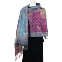 Pashmina Style Shawls - Woven Prints - Metallic Accent - Paisley - Purple