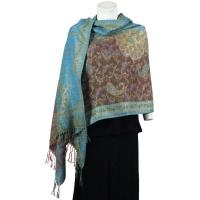 Pashmina Style Shawls - Woven Prints - Metallic Accent - Paisley - Brown
