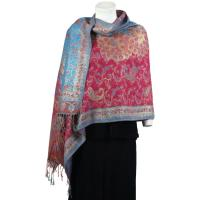 Pashmina Style Shawls - Woven Prints - Metallic Accent - Paisley - Red