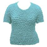 Silky Touch Popcorn - Queen Short Sleeve - Light Turquoise