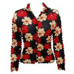 Georgette Popcorn - Cardigan -  Hibiscus Red-Tan