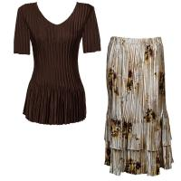 Sets Satin Mini Pleat - Half Sleeve V-Neck - Solid Dark Brown - Beige Floral Skirt