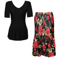 Sets Satin Mini Pleat - Half Sleeve V-Neck - Solid Black - Coral Blossoms on Black Skirt
