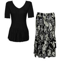 Sets Satin Mini Pleat - Half Sleeve V-Neck - Solid Black - Ivory Floral on Black Skirt