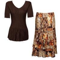 Sets Satin Mini Pleat - Half Sleeve V-Neck - Solid Dark Brown - Multi Animal Floral Skirt