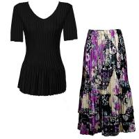 Sets Satin Mini Pleat - Half Sleeve V-Neck - Solid Black - Raspberry Sherbet Abstract Skirt