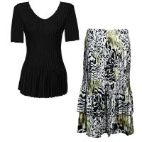 Sets Satin Mini Pleat - Half Sleeve V-Neck - Solid Black - Reptile Floral-Green Skirt