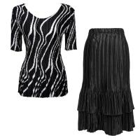 Sets Satin Mini Pleat - Half Sleeve V-Neck - Ribbon Black-White - Black Skirt