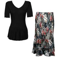 Sets Satin Mini Pleat - Half Sleeve V-Neck - Solid Black - White-Black-Red Abstract Skirt