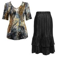 Sets Satin Mini Pleat - Half Sleeve V-Neck - Abstract Black-Gold - Black Skirt
