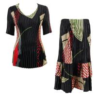 Sets Satin Mini Pleat - Half Sleeve V-Neck - Art Deco Olive-Red