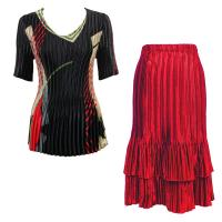 Sets Satin Mini Pleat - Half Sleeve V-Neck - Art Deco Olive-Red - Red Skirt