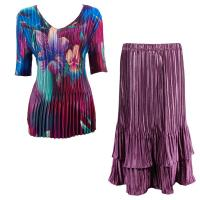 Sets Satin Mini Pleat - Half Sleeve V-Neck - Red-Blue Flower - Eggplant Skirt