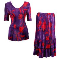Sets Satin Mini Pleat - Half Sleeve V-Neck - Red Tulips on Purple