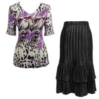 Sets Satin Mini Pleat - Half Sleeve V-Neck - Reptile Floral-Purple - Black Skirt
