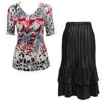 Sets Satin Mini Pleat - Half Sleeve V-Neck - Reptile Floral-Red - Black Skirt