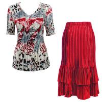 Sets Satin Mini Pleat - Half Sleeve V-Neck - Reptile Floral-Red - Red Skirt