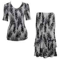 Sets Satin Mini Pleat - Half Sleeve V-Neck - White-Black Swirl Dots