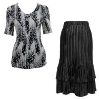 Sets Satin Mini Pleat - Half Sleeve V-Neck - White-Black Swirl Dots - Black Skirt