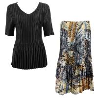 Sets Satin Mini Pleat - Half Sleeve V-Neck - Solid Black - Abstract Black-Gold Skirt